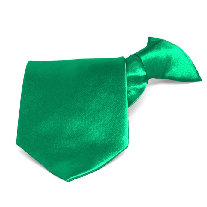 Green Solid Color Clip-On Tie