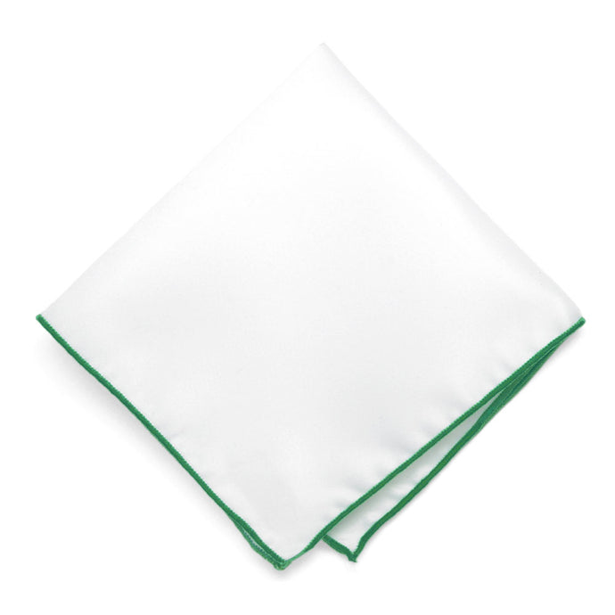 Green Tipped White Pocket Square