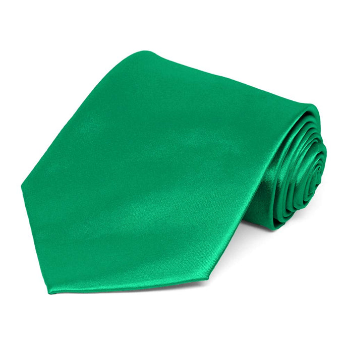 Green Extra Long Solid Color Necktie