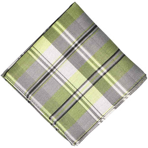 Green and gray plaid pocket square