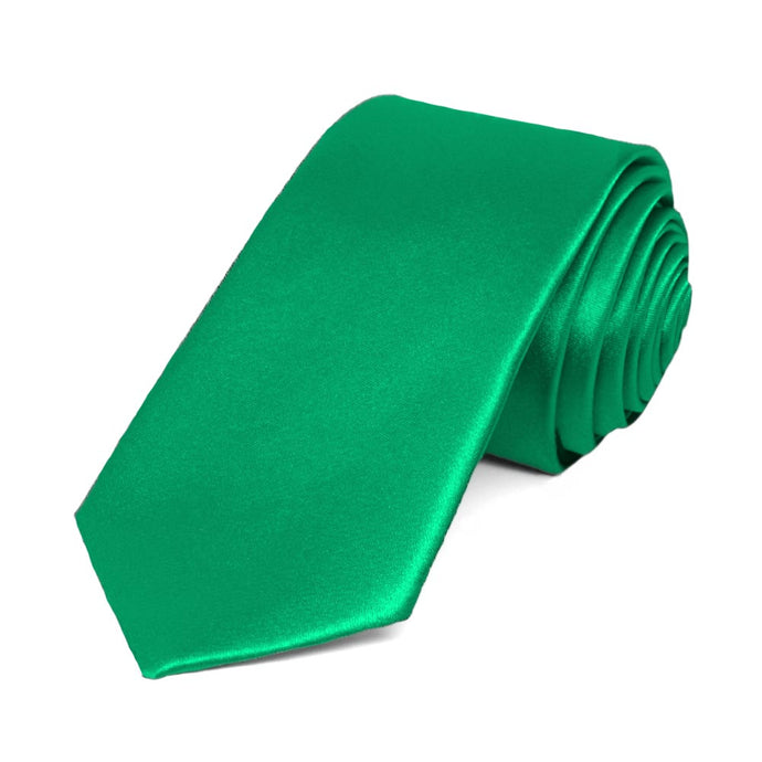 Green Slim Solid Color Necktie, 2.5