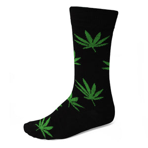 Green and black weed leaf sock