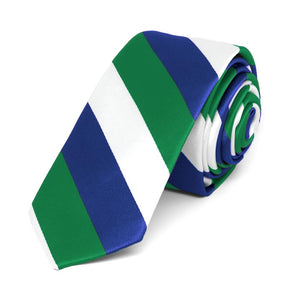"Kelly Green, White and Royal Blue Striped Skinny Tie, 2"" Width"