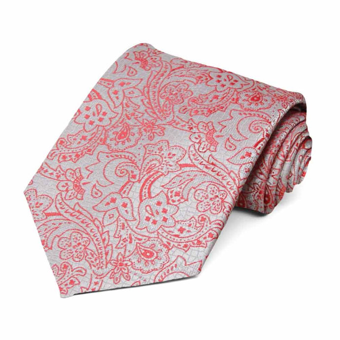 Guava and Silver Galway Floral Necktie