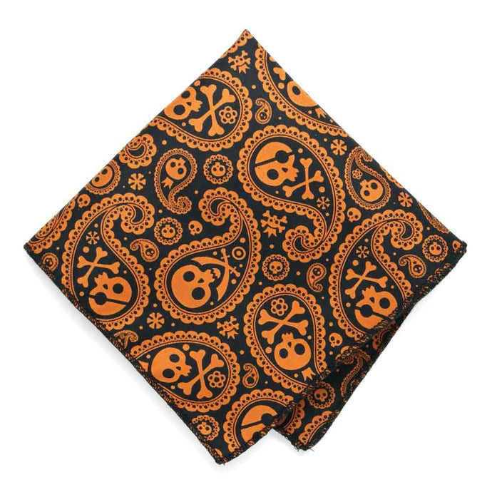 Skull and Crossbones Paisley Pocket Square