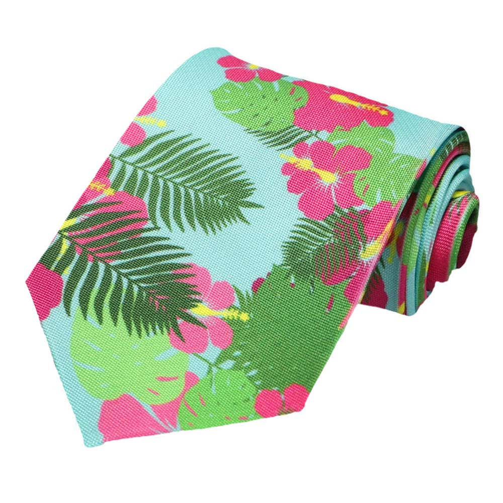A Hawaiian floral pattern tie on an aqua background.