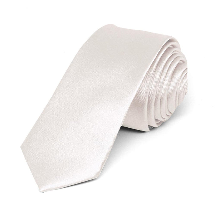 Hint Of Pink Skinny Solid Color Necktie, 2