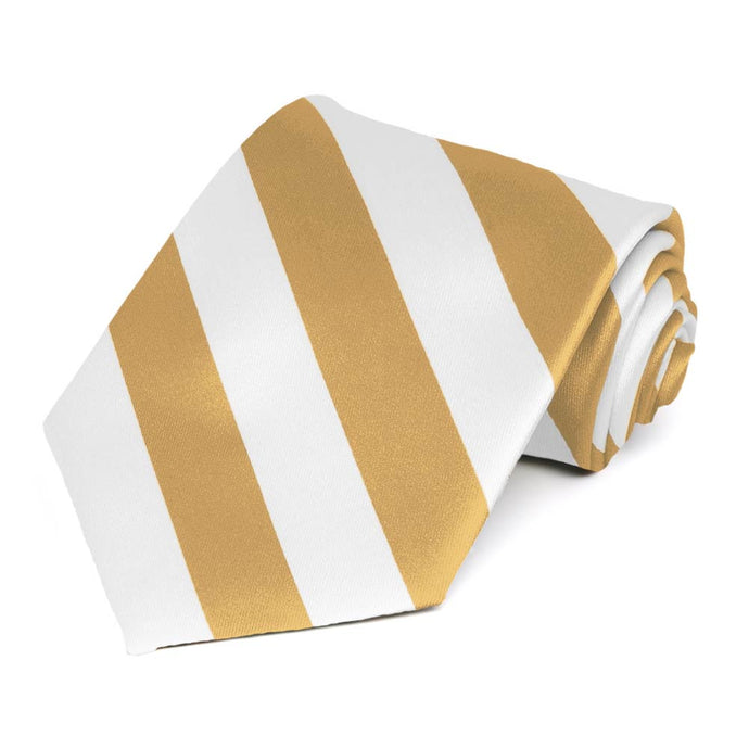 Honey Gold and White Striped Tie