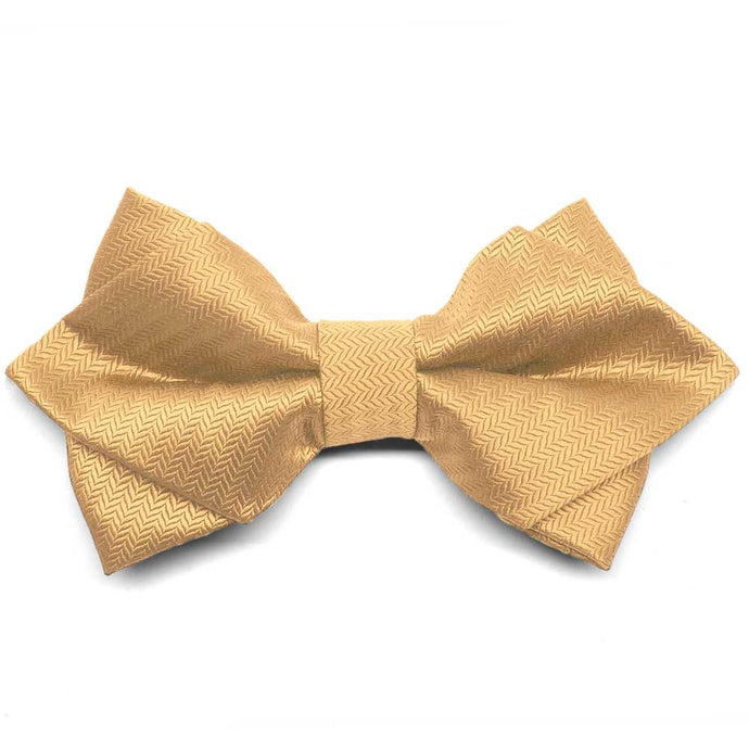 Honey Gold Herringbone Diamond Tip Bow Tie