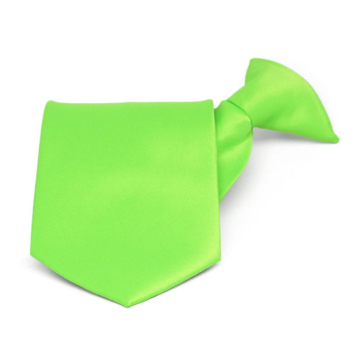 Hot Lime Green Solid Color Clip-On Tie