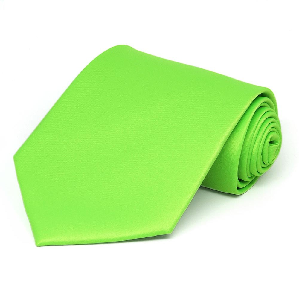 Hot Lime Green Solid Color Necktie