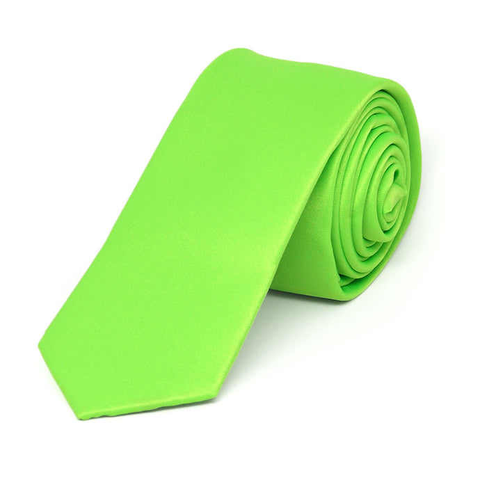 Hot Lime Green Skinny Solid Color Necktie, 2