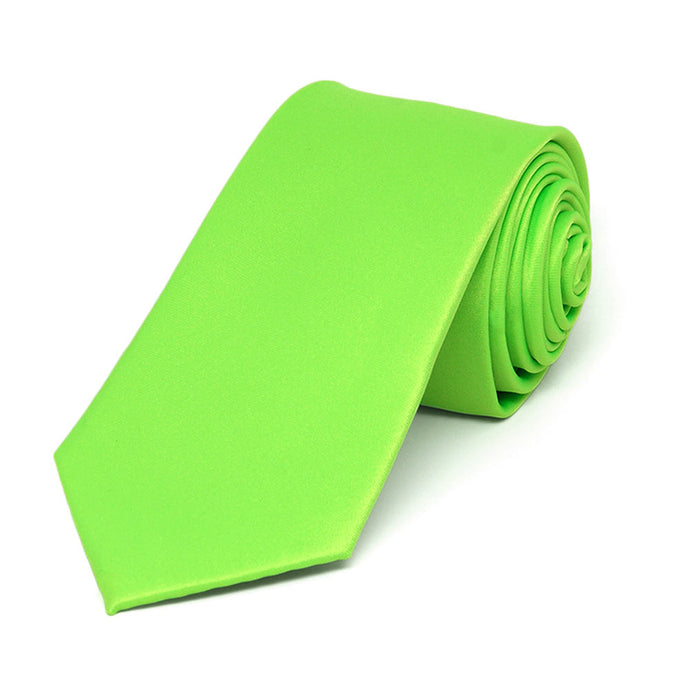 Hot Lime Green Slim Solid Color Necktie, 2.5