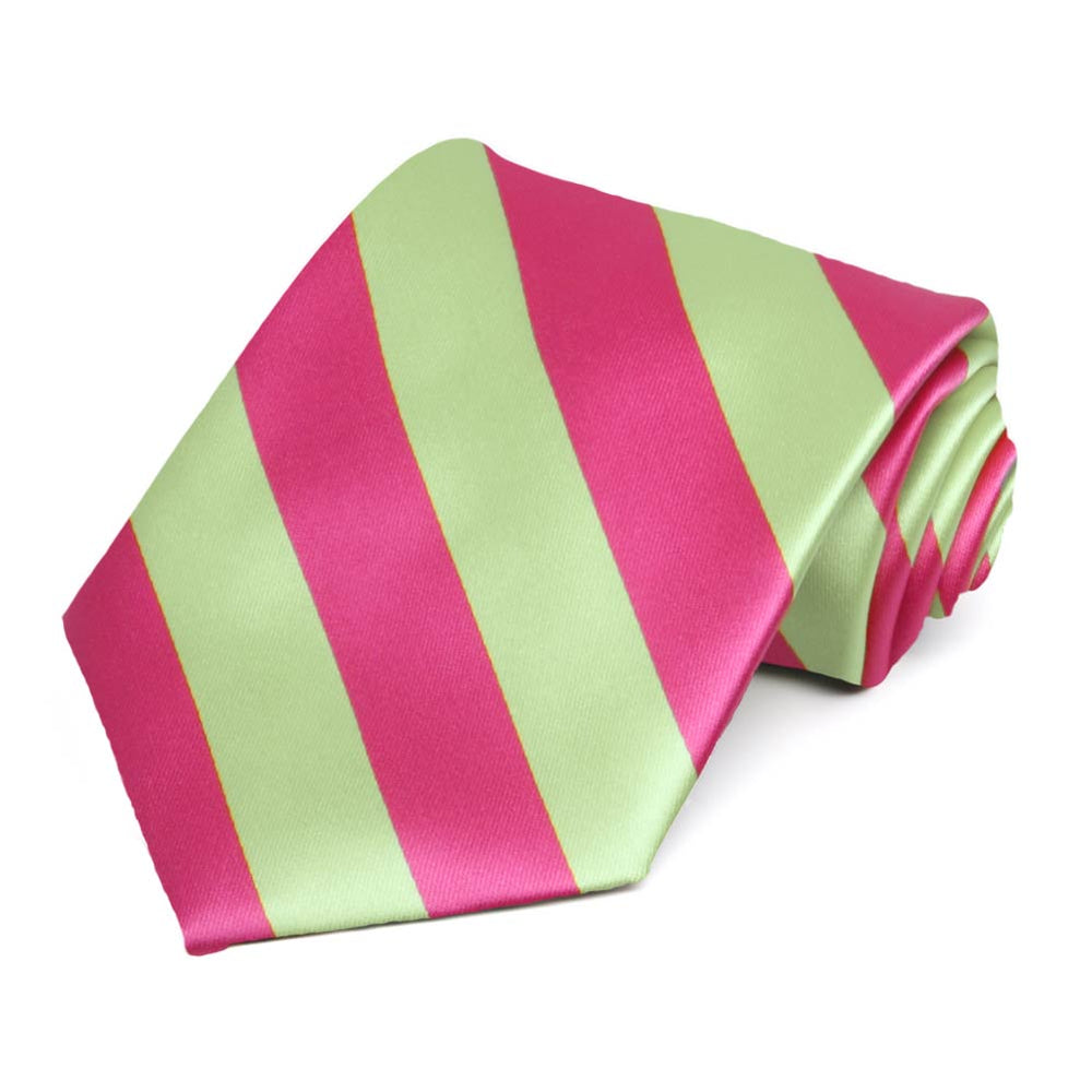 Hot Pink and Lime Green Striped Tie