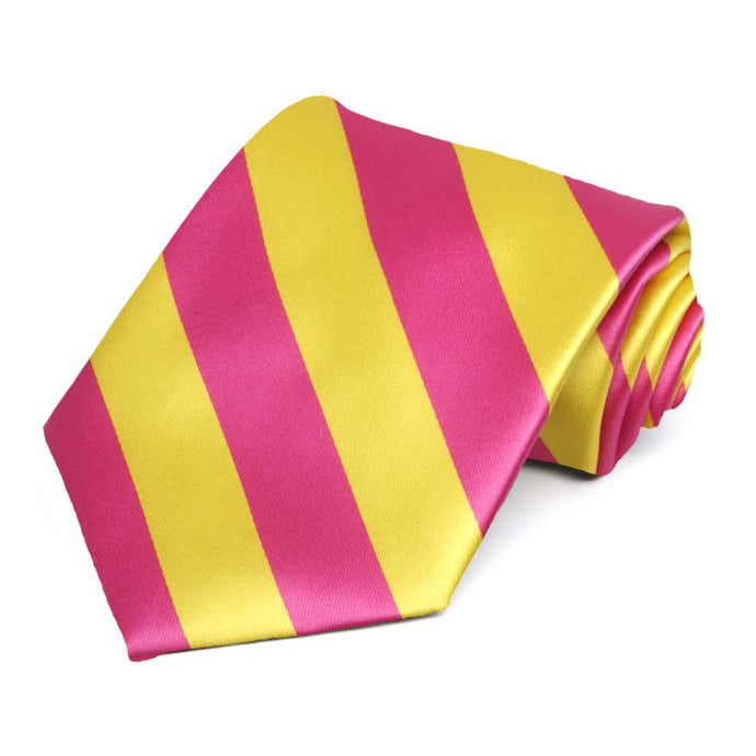 Hot Pink and Yellow Striped Tie