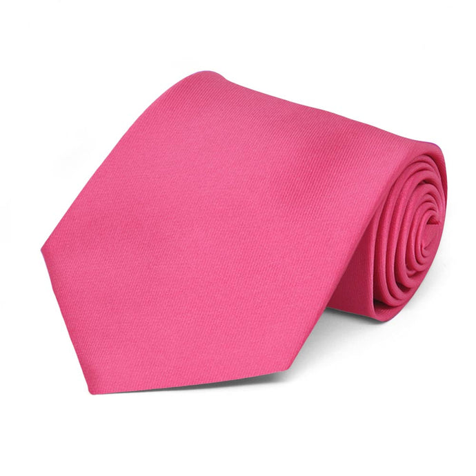 Hot Pink Extra Long Solid Color Necktie