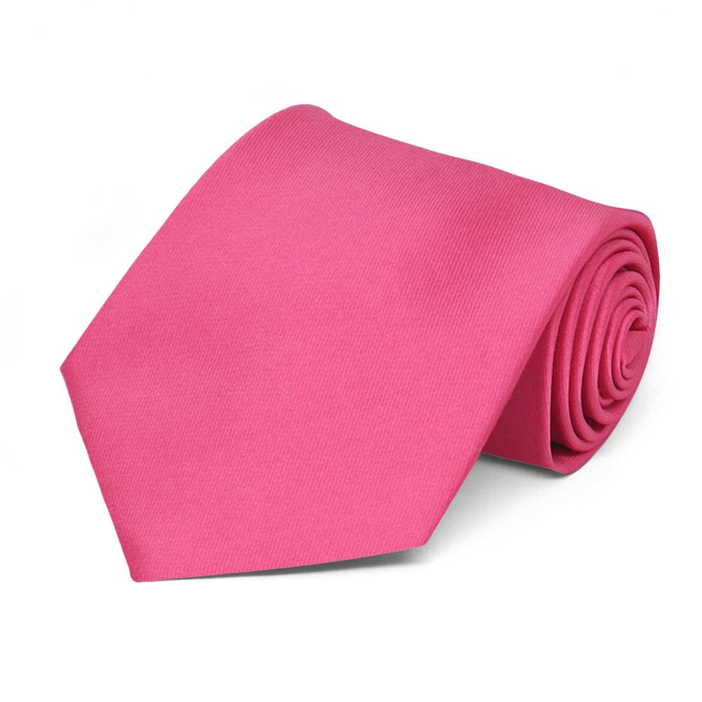 Hot Pink Solid Color Necktie