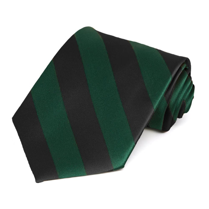 Hunter Green and Black Striped Tie