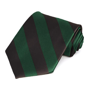 Hunter Green and Brown Striped Tie