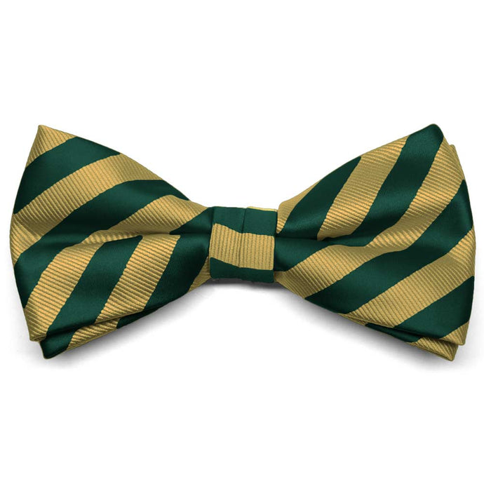 Hunter Green and Gold Formal Striped Bow Tie