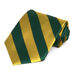 Hunter Green and Gold Striped Tie
