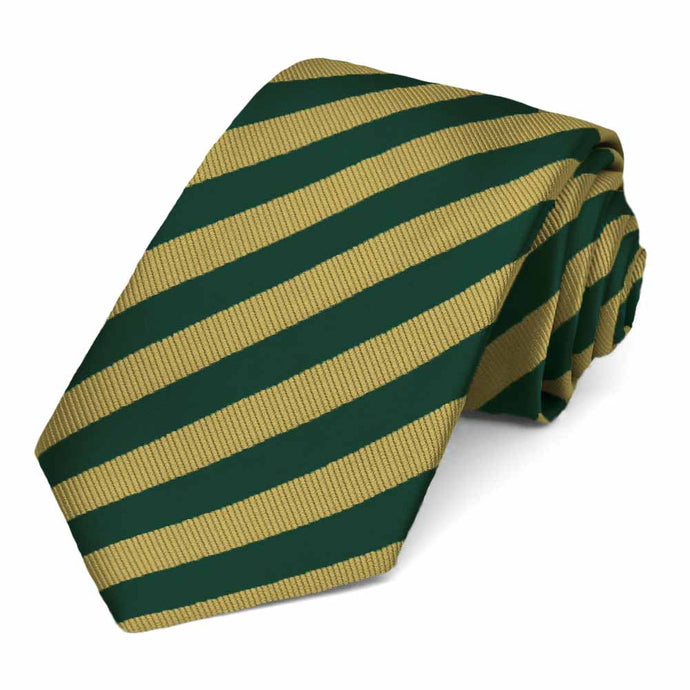 Hunter Green and Gold Formal Striped Tie