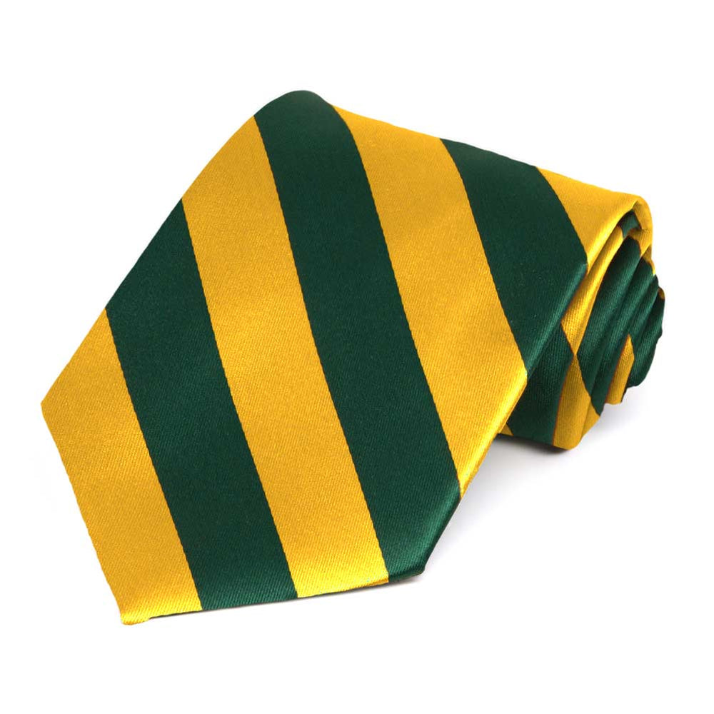 Hunter Green and Golden Yellow Extra Long Striped Tie