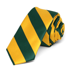 "Hunter Green and Golden Yellow Striped Skinny Tie, 2"" Width"
