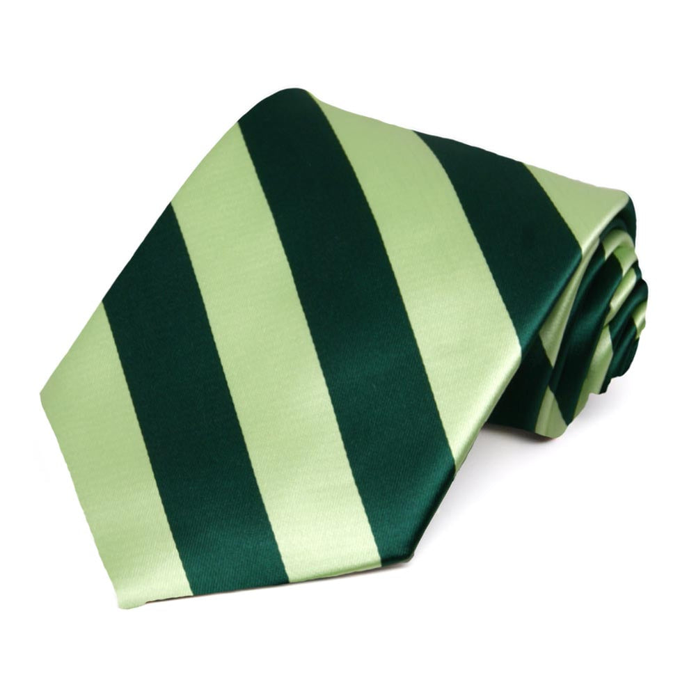 Hunter Green and Lime Green Striped Tie