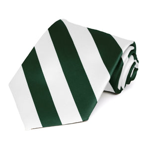 Hunter Green and White Striped Tie