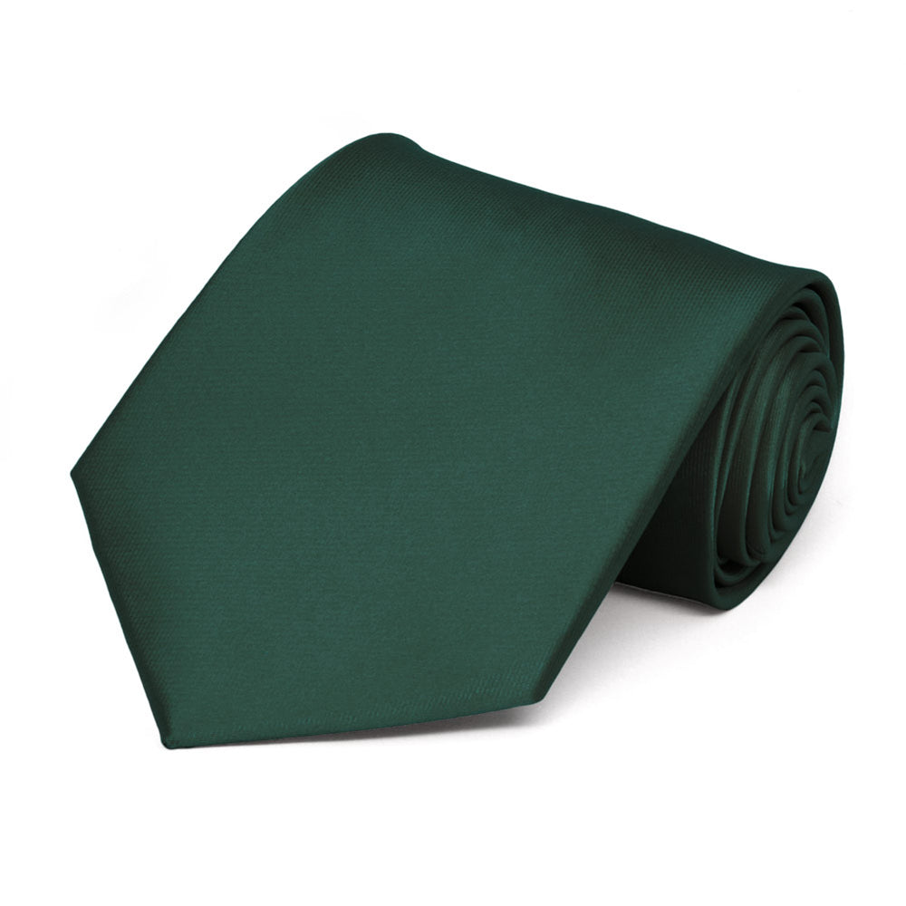 Hunter Green Extra Long Solid Color Necktie