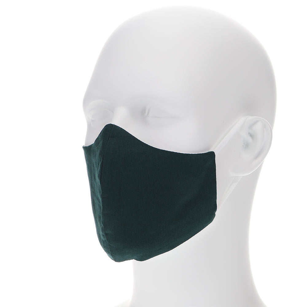 Hunter green face mask on a mannequin with filter pocket