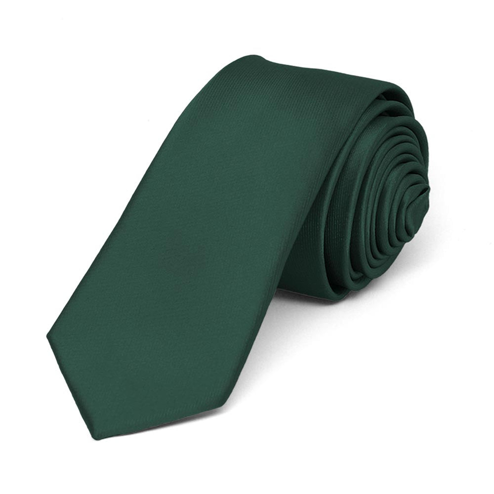 Hunter Green Skinny Solid Color Necktie, 2