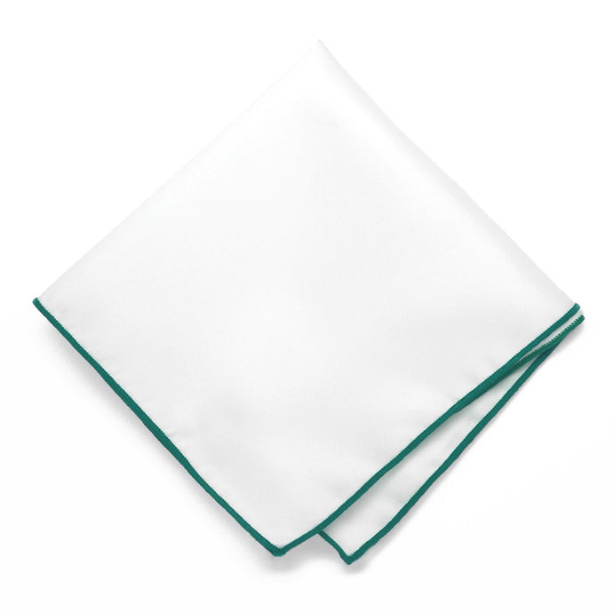 Jade Tipped White Pocket Square