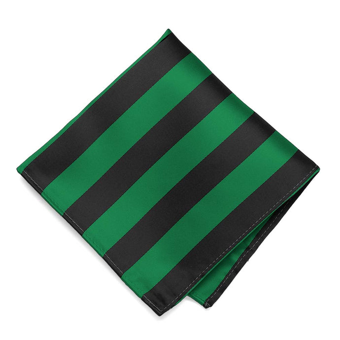 Kelly Green and Black Striped Pocket Square