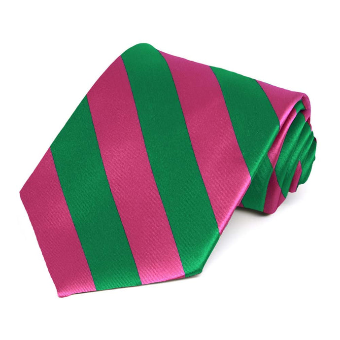 Kelly Green and Fuchsia Striped Tie