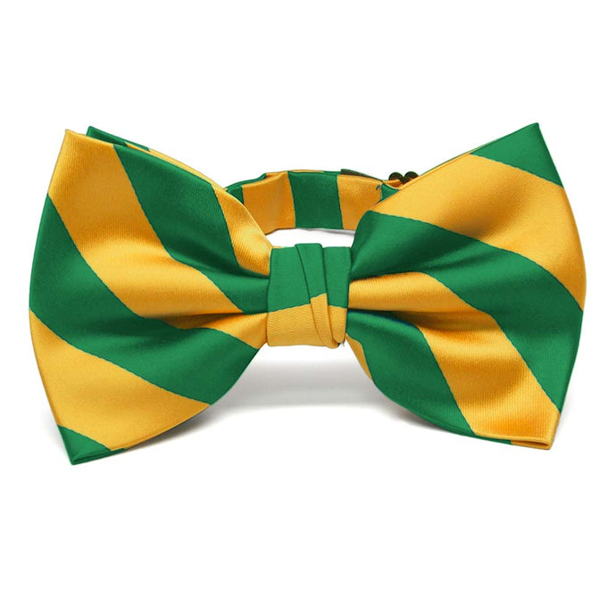 Kelly Green and Golden Yellow Striped Bow Tie