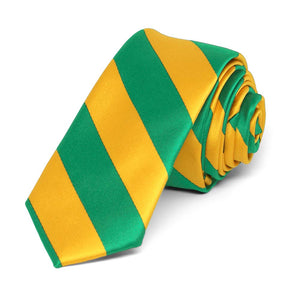 "Kelly Green and Golden Yellow Striped Skinny Tie, 2"" Width"