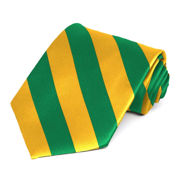 Kelly Green and Golden Yellow Striped Tie