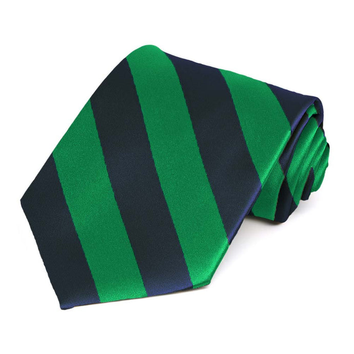 Kelly Green and Navy Blue Extra Long Striped Tie