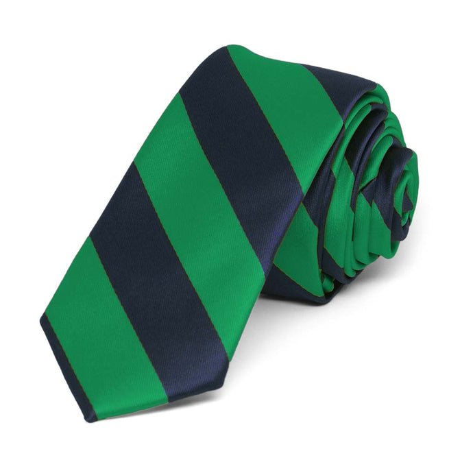 Kelly Green and Navy Blue Striped Skinny Tie, 2
