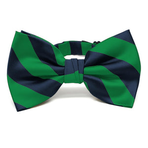 Kelly Green and Navy Blue Striped Bow Tie
