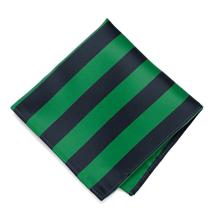 Kelly Green and Navy Blue Striped Pocket Square