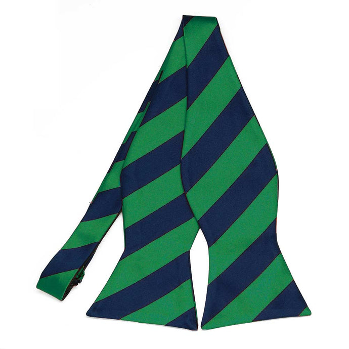 Kelly Green and Navy Blue Striped Self-Tie Bow Tie