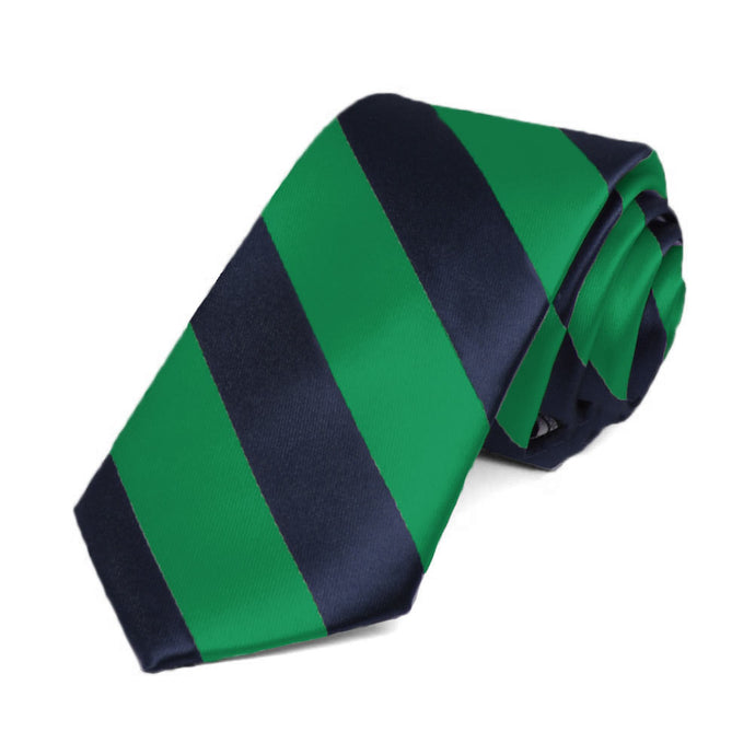 Kelly Green and Navy Blue Striped Slim Tie, 2.5