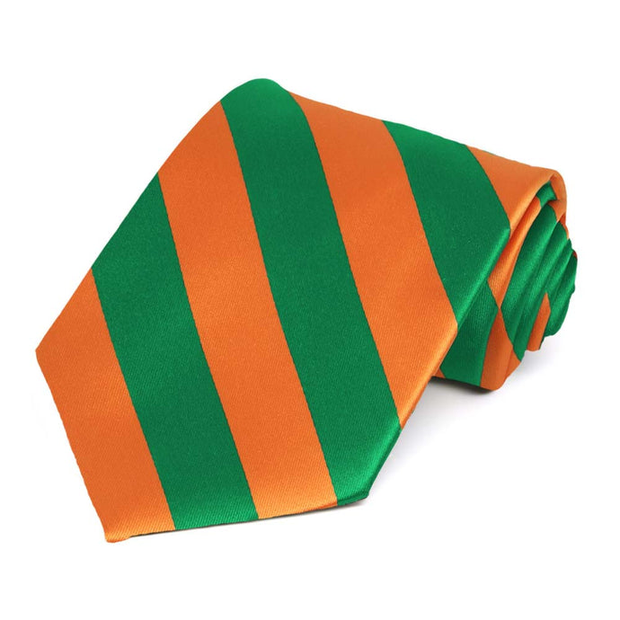 Kelly Green and Orange Striped Tie