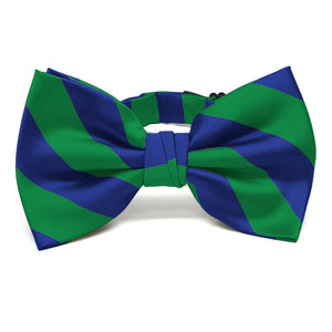 Kelly Green and Royal Blue Striped Bow Tie