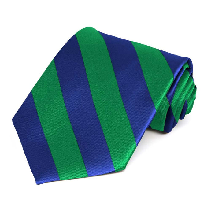 Kelly Green and Royal Blue Extra Long Striped Tie