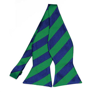 Kelly Green and Royal Blue Striped Self-Tie Bow Tie