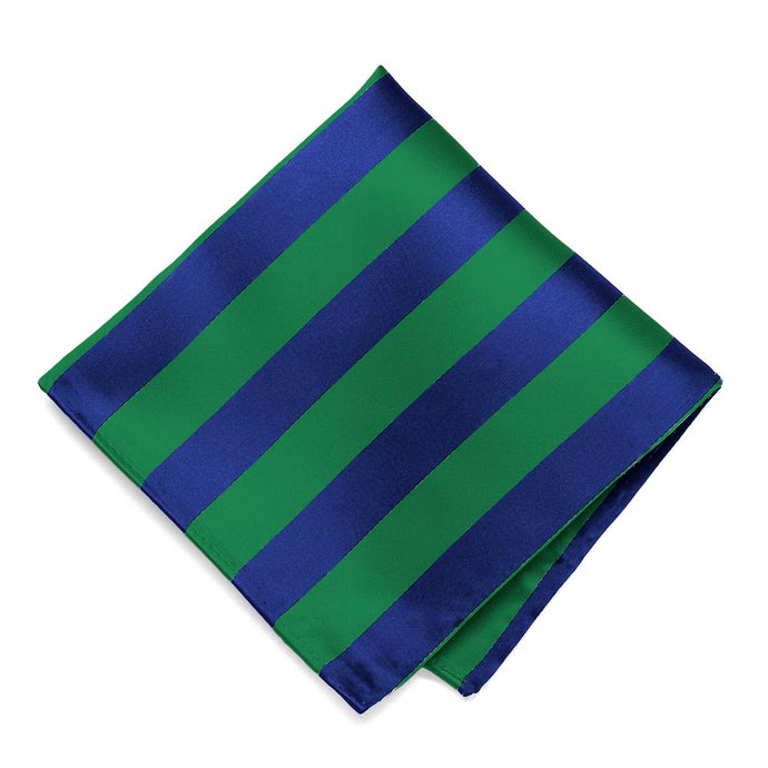 Kelly Green and Royal Blue Striped Pocket Square
